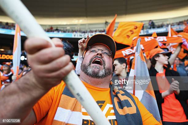 Giants fans cheer during the AFL First Preliminary Final match between the Greater Western Sydney Giants and the Western Bulldogs at Spotless Stadium...