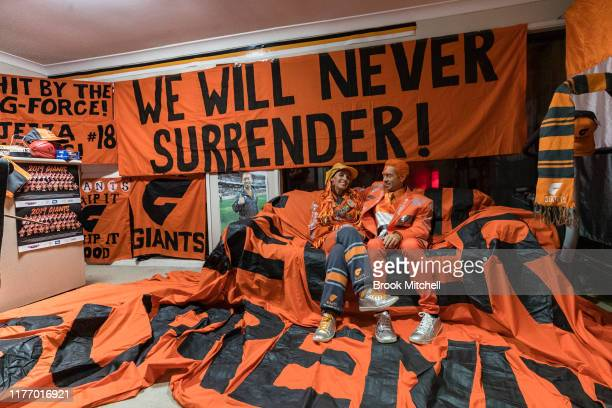 Giants fans Kath and Seb Dell'Orefice prepare for Saturday's 2019 AFL Grand Final on September 25 2019 in Sydney Australia Kath and Seb have been...