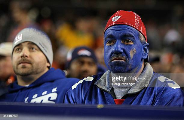 Giants fans were looking blue as the Denver Broncos defeated the New York Giants during NFL action at Invesco Field at Mile High on November 26 2009...