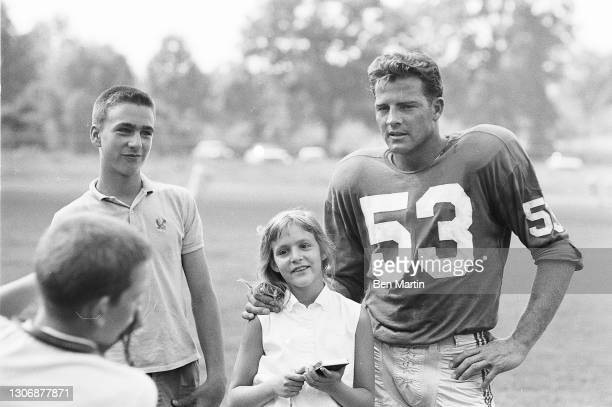 Giants football player Frank Gifford retuning to the Giants as a flanker after 18 months retirement from a serious head injury in 1960, photographed...