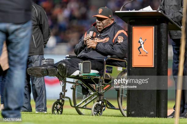 Giants great Willie McCovey announces Will Smith as the winner of the 2018 Willie Mac award before the major league baseball game between the Los...