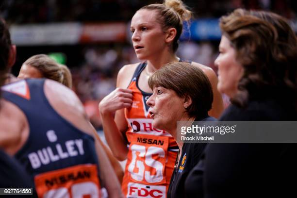 Giants Head Coach Julie Fitzgerald adresses her team during the round seven Super Netball match between the Swifts and the Giants at Sydney Olympic...