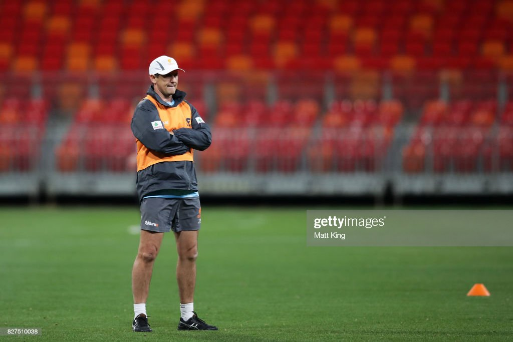 Giants head coach Leon Cameron looks on during a Greater Western Sydney Giants AFL training session at Spotless Stadium on August 8, 2017 in Sydney, Australia.