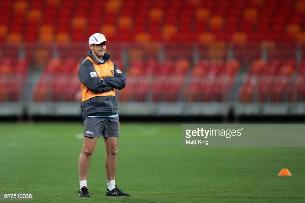 Giants head coach Leon Cameron looks on during a Greater Western Sydney Giants AFL training session at Spotless Stadium on August 8, 2017 in Sydney,...