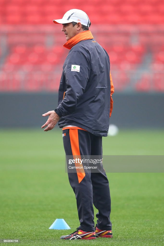 Giants head coach, Leon Cameron looks on during a Greater Western Sydney Giants AFL training session at Spotless Stadium on June 27, 2018 in Sydney, Australia.