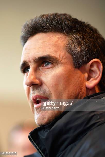Giants head coach Leon Cameron speaks to the media prior to a Greater Western Sydney Giants AFL training session at Adelaide Oval on September 6,...