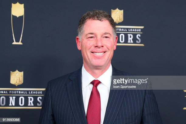 Giants Head coach Pat Shurmur poses for photographs on the Red Carpet at NFL Honors during Super Bowl LII week on February 3 at Northrop at the...
