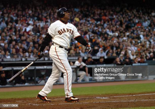 Giants left fielder Barry Bonds watches his two-run home run, # 758, off Pirates pitcher Matt Morris during the 3rd inning of their Major League...