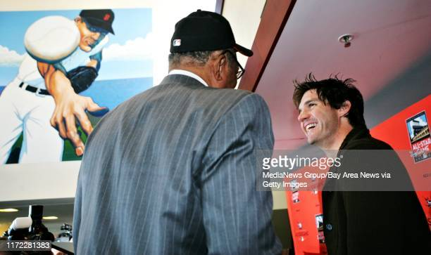 Giants legend Willie Mays and Giants Ace Barry Zito joke around at AT&T Park in San Francisco, Calif. Wednesday April 18 after a press conference...