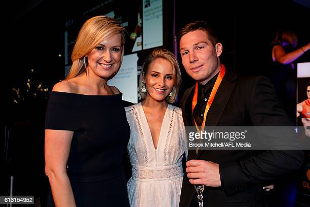 Giants number one ticket holder Melissa Doyle with Marley Gordon and Toby Greene at the Greater Western Sydney AFL Awards Night on October 7 2016 in...