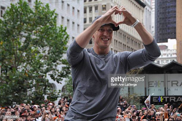 CONTENT] Giants outfielder Hunter Pence sends a heart to his fans along Market St during the Giants World Series Victory Parade on Oct 31 2012 in San...