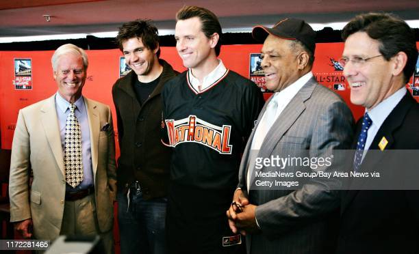 Giants Owner Peter Magowan, Giants Ace Barry Zito, San Francisco Mayor Gavin Newsom, Giants legend Willie Mays and Executive VP of Business for Major...