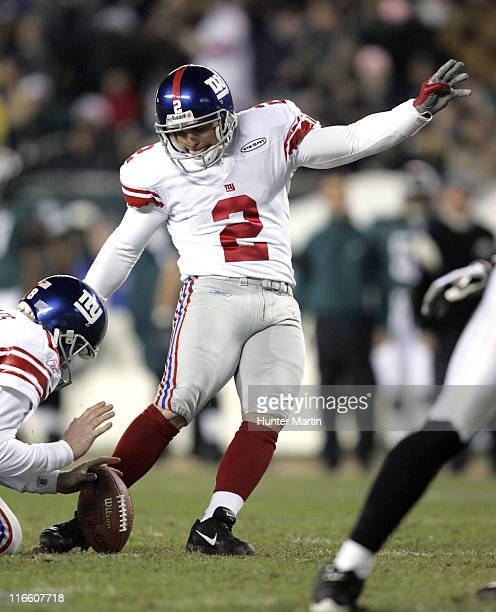 Giants place kicker Jay Feely kicks one of four field goals during the game between the New York Giants and the Philadelphia Eagles at Lincoln...