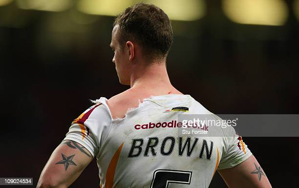 Giants player Kevin Brown sports a ripped shirt during the Engagae Super League match between Huddersfield Giants and Warrington Wolves at Millennium...