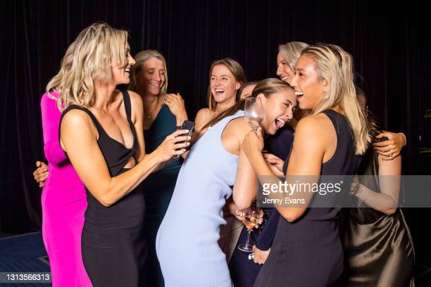 Giants players celebrate after Alyce Parker was named in the AFL Women's All-Australian Team during the 2021 AFLW W Awards at Sydney Cricket Ground...