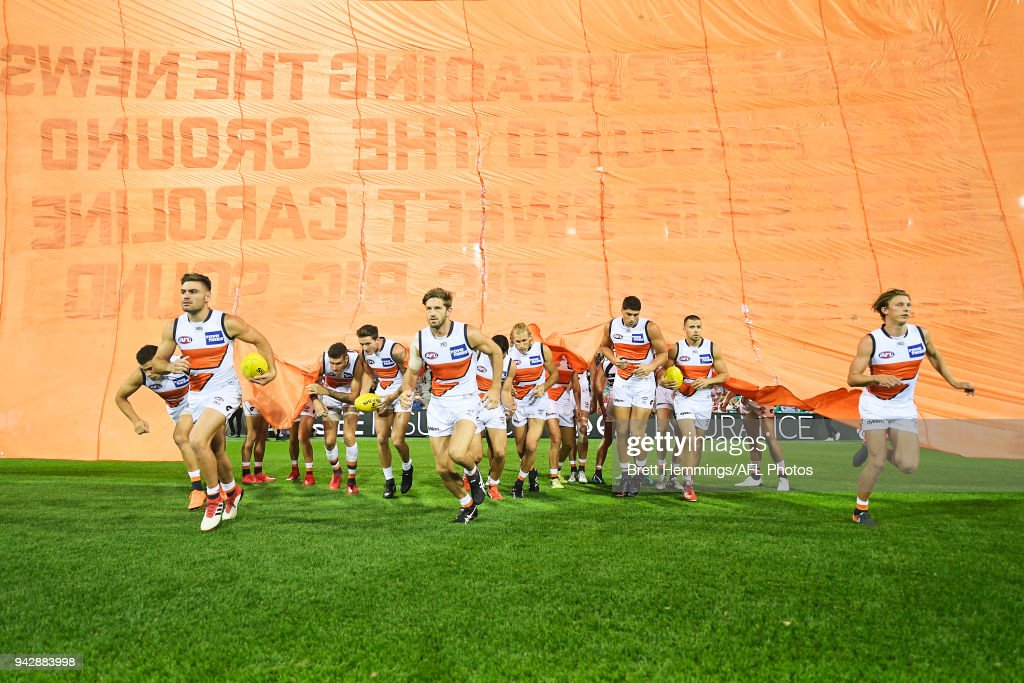 Giants players take to the field during the round three AFL match between the Sydney Swans and the Greater Western Sydney Giants at Sydney Cricket Ground on April 7, 2018 in Sydney, Australia.