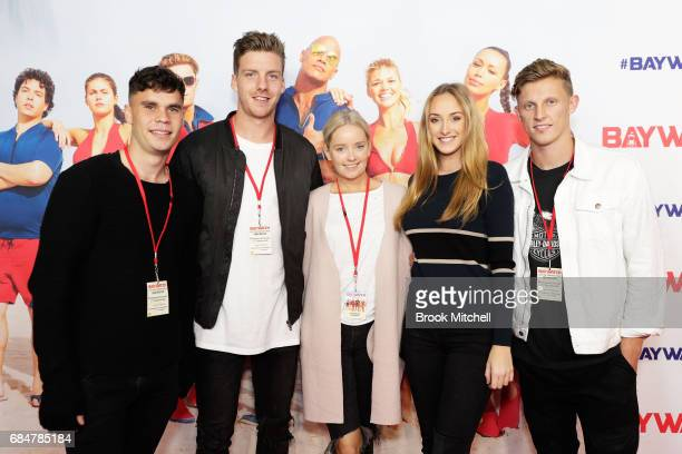 Giants players Zac Williams Aidan Corr and Lachie Whitfield attend the Australian premiere of 'Baywatch' at Hoyts EQ on May 18 2017 in Sydney...