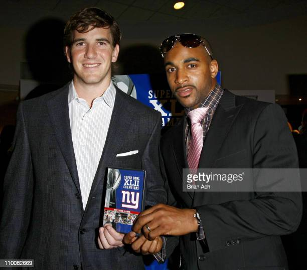 NY Giants Quarterback Eli Manning and NY Giants wide receiver David Tyree at the NFL Super Bowl XLII Champions DVD Premiere Screening at AMC Empire...