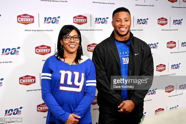 Giants Saquon Barkley Campbell's Chunky Donate 10000 Bowls of Soup to Convenant House on November 05 2019 in Newark New Jersey