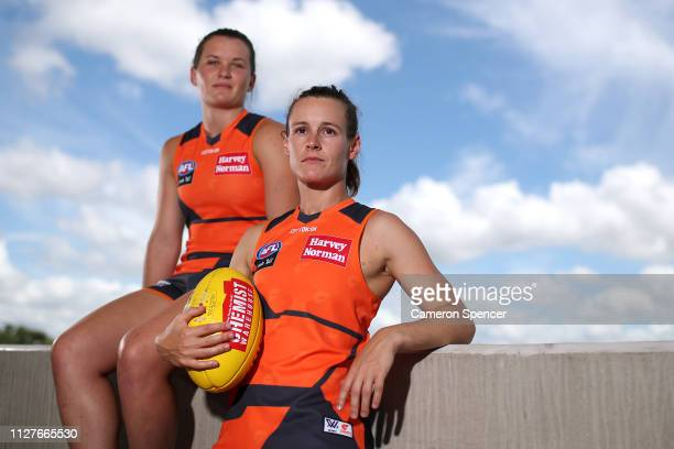 Giants vice-captain Alicia Eva and Alyce Parker of the Giants pose during a Greater Western Sydney Giants AFLW media opportunity at Drummoyne Oval on...