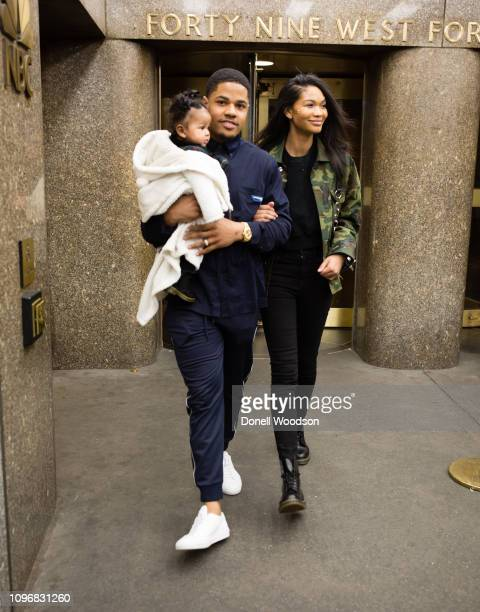 Giants Wide Receiver Sterling Shepard model and wife Chanel Iman and daughter Cali Clay Shepard leave the Christian Siriano show during New York...