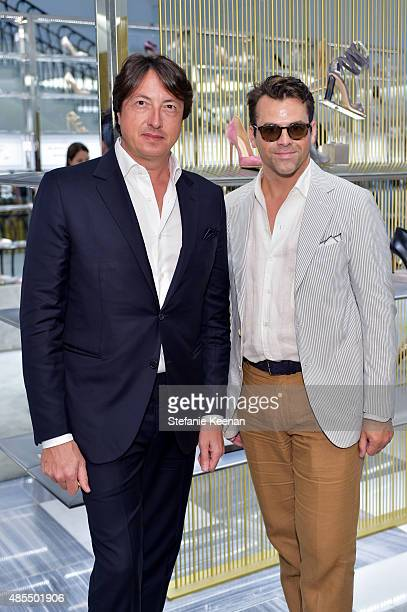 Gianvito Rossi and Patrick Guertin attend Barneys New York Fetes Shoe Designer Gianvito Rossi at Barneys New York Beverly Hills on August 27 2015 in...