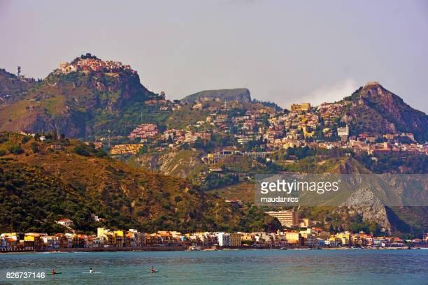 giardini naxos taormina - naxos sicily stock pictures, royalty-free photos & images