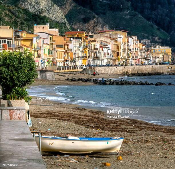 giardini naxox bay, village, beach and boat - giardini naxos stock pictures, royalty-free photos & images