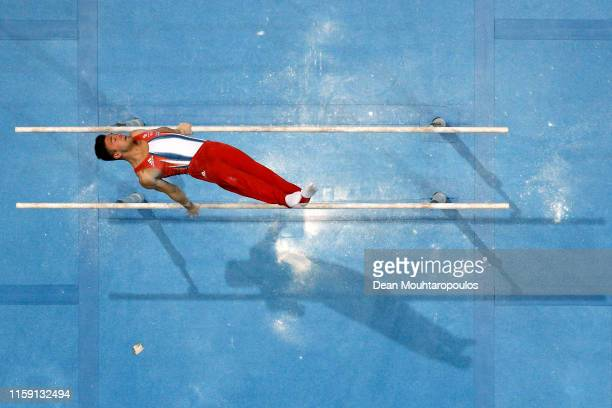 Giarnni Regini-Moran of Great Britain or Team GB competes on the Parallel bars during the Artistic Gymnastics Men's All-Around Finals event during...