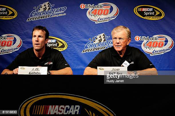 Gibbs and Joe Gibbs owners of Joe Gibbs Racing speak with the media about the loss of Tony Stewart and the future of their organization prior to the...