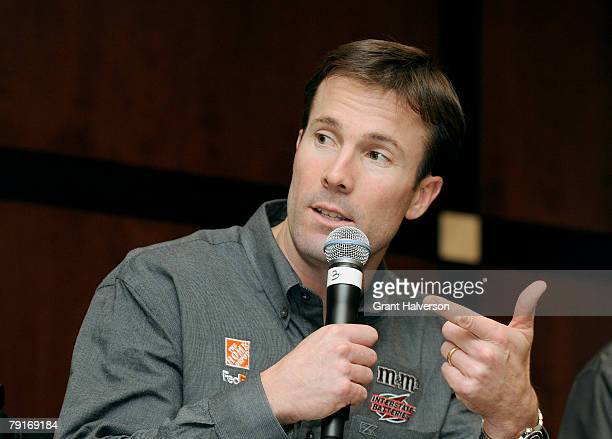 D Gibbs answers questions during an event at Joe Gibbs Racing January 22 2007 in Huntersville North Carolina
