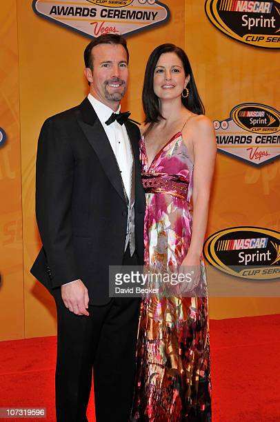 D Gibbs arrives with his wife Melissa at the NASCAR Sprint Cup Series awards banquet at the Wynn Las Vegas Hotel on December 3 2010 in Las Vegas...