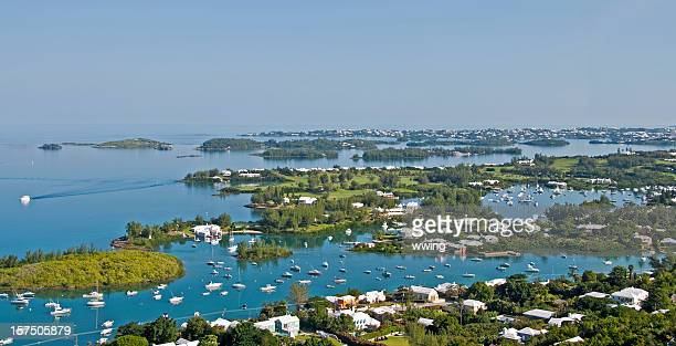 gibbs lighthouse view, bermuda... hamilton harbor - hamilton stock photos and pictures