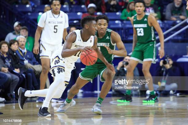 Gibbs of the Notre Dame Fighting Irish drives to the basket in the game against the Jacksonville Dolphins in the second half at Purcell Pavilion on...