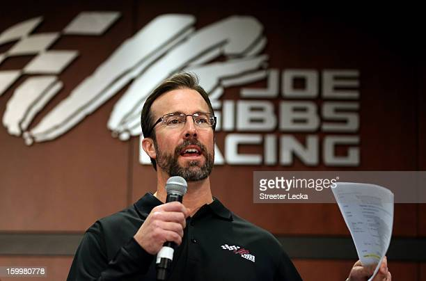 D Gibbs President of JGR speaks to the media during the 2013 NASCAR Sprint Media Tour on January 24 2013 in Concord North Carolina