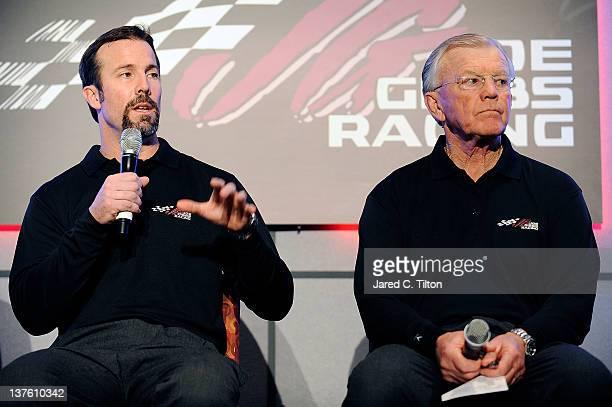 D Gibbs president of Joe Gibbs Racing and Joe Gibbs owner of Joe Gibbs Racing speak with the media during the 2012 NASCAR Sprint Cup Series Media...