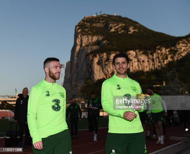 Gibraltar Gibraltar 22 March 2019 Jack Byrne left and Robbie Brady during a Republic of Ireland training session at Victoria Stadium in Gibraltar
