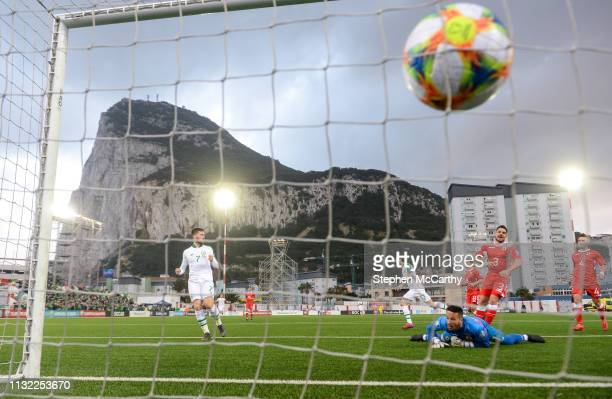 Gibraltar Gibraltar 23 March 2019 Jeff Hendrick and his Republic of Ireland teammate Matt Doherty left celebrate after scoring his side's goal past...