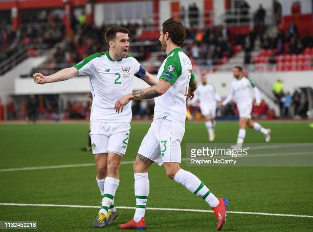 Gibraltar Gibraltar 23 March 2019 Jeff Hendrick is congratulated by his Republic of Ireland teammate Seamus Coleman left after scoring their side's...
