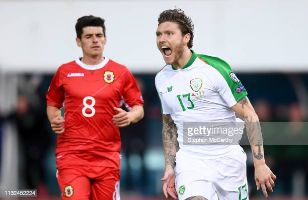 Gibraltar Gibraltar 23 March 2019 Jeff Hendrick of Republic of Ireland celebrates after scoring his side's goal during the UEFA EURO2020 Qualifier...