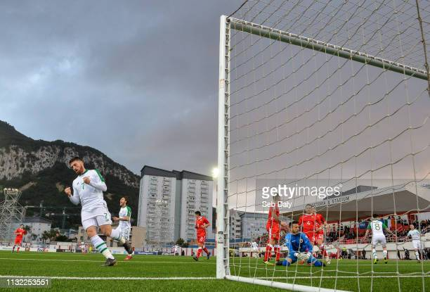 Gibraltar Gibraltar 23 March 2019 Matt Doherty of Republic of Ireland celebrates following his side's goal scored by teammate Jeff Hendrick during...