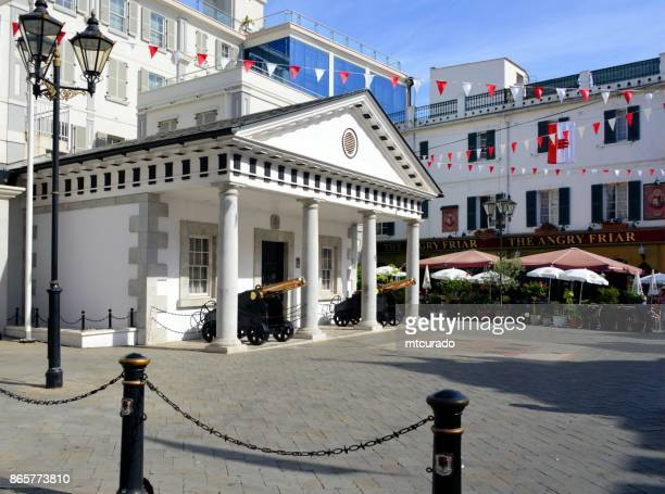 gibraltar - guard house of the residence of the governor of gribraltar, the convent - convent stock photos and pictures