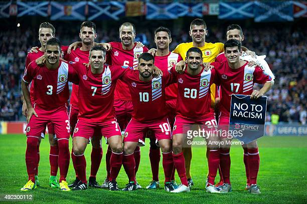 Gibraltar line up prior to start the UEFA EURO 2016 Qualifying round Group G match between Gibraltar and Scotland at Estadio Algarve on October 11...