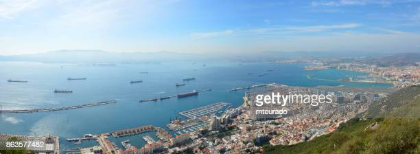 gibraltar: the town, port and algeciras bay - panorama - la linea de conception stock pictures, royalty-free photos & images