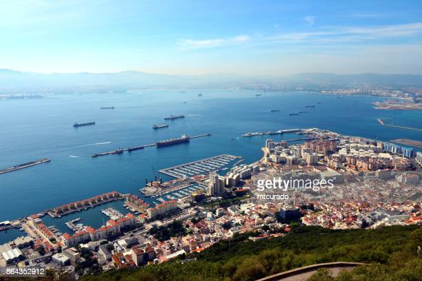 gibraltar town seen from the upper rock nature reserve - rock of gibraltar stock photos and pictures