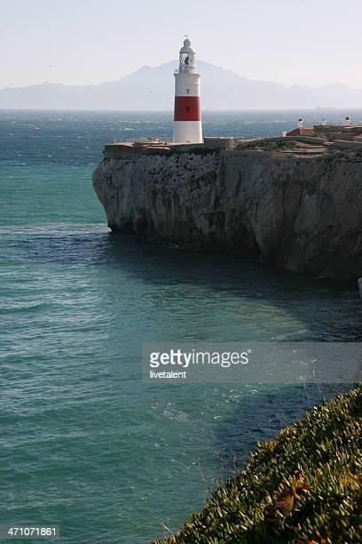 Gibraltar Trindade farol no Penhasco com África no fundo
