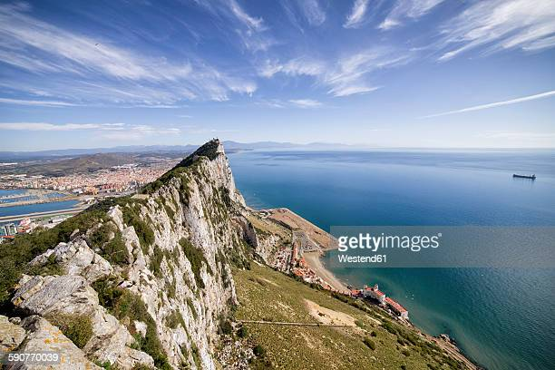 gibraltar, view from rock to mediterranean sea - gibraltar stock pictures, royalty-free photos & images