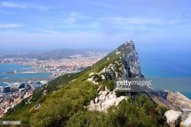 gibraltar - view from the crest of the rock - panorama - rock of gibraltar stock photos and pictures