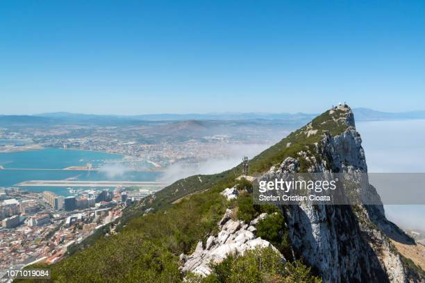 gibraltar - view from the crest of the rock - ジブラルタルの岩山 ストックフォトと画像