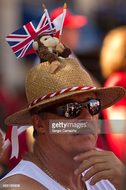 Gibraltarian attends the rally during Gibraltar National Day celebrations on September 10 2014 in Gibraltar Gibraltar National Day is the official...